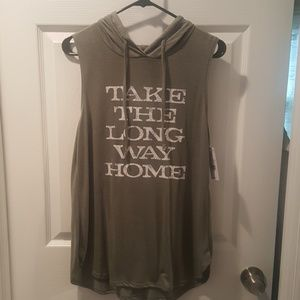Tops - NWT take the long way home hooded tank